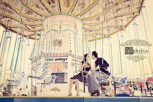 love the bleached vintage color filter of the carousel