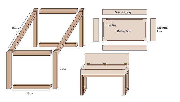 Gartentisch mit Aufbewahrungsbox als Tischplatte; Bauzeichnung