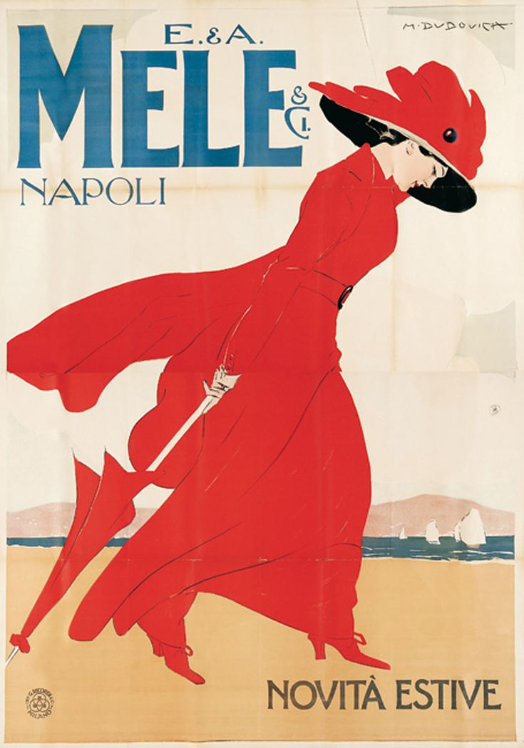 Marcello Dudovich: Mele fashion store, Naples - Summer new products (1908)