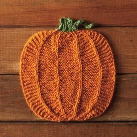 """Pumpking Dishcloth - Free Halloween Knitting Pattern. This adorable pumpkin will certainly get your kitchen ready for fall! This dishcloth features garter stitch with """"outlines"""" of stockinette to create a reversible fabric that gives the look of a pumpkin from each side. Designer: Teresa Gregorio Pattern Type: Knit Difficulty Level: Intermediate Sizes Included: 8"""" x 8"""" Yarn Shown: CotLin DK Yarn Yardage: 123 Needles/Hooks Suggested: Size 5 (3.75mm): straight or circular needles Fiber T"""