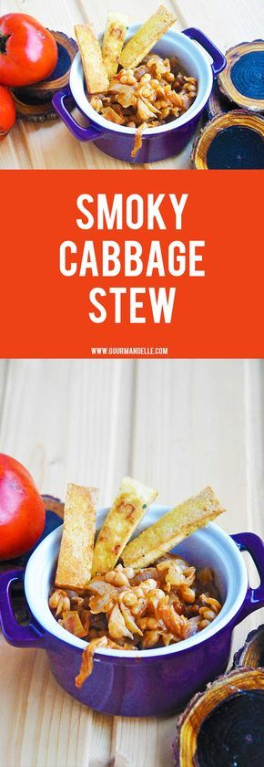 This is the best cabbage stew you will ever make! You will fall in love with cabbage after you've tried this smoky cabbage stew recipe! #cabbage #stew #veganrecipes