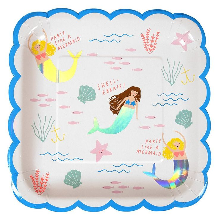 Let's Be Mermaids Large Party Plates