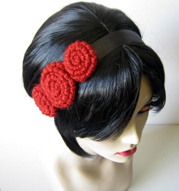 crochet rosette headband