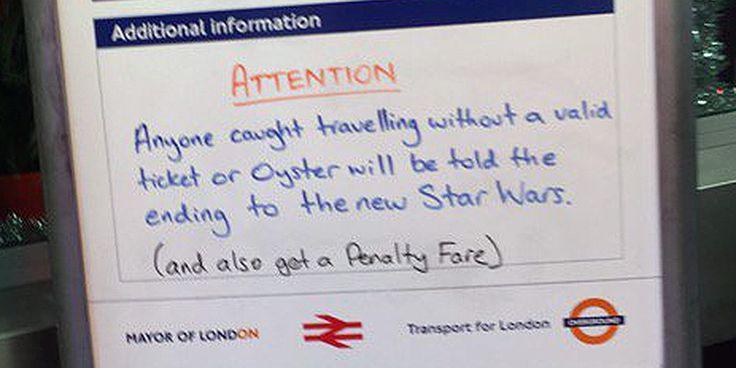 Real time marketing - L'avviso su Star Wars nella metropolitana di Londra