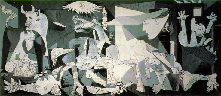 """Picasso, Pablo. """"Guernica"""". 1937. Oil on canvas. 349 cm × 776 cm (137.4 in × 305.5 in). Museo Reina Sofia, Madrid. #art #painting"""