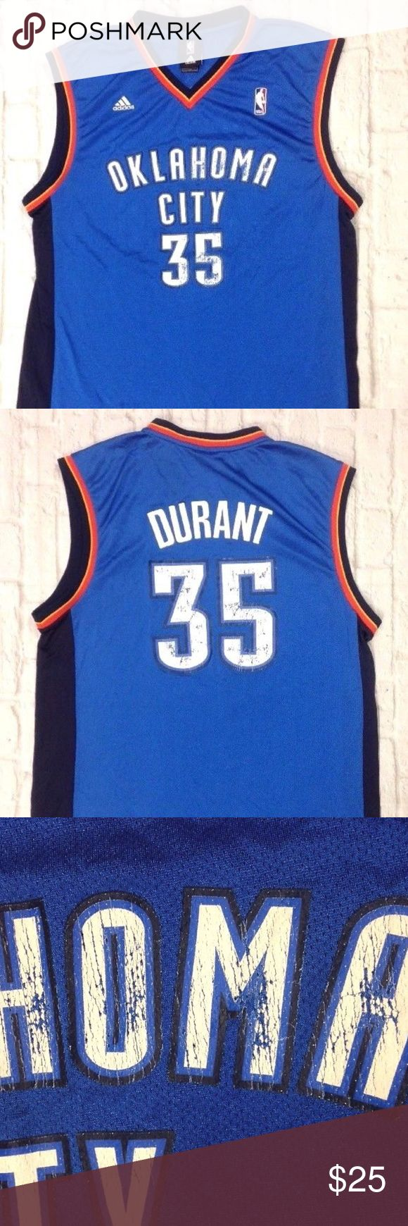 Oklahoma City THUNDER KEVIN DURANT nba JERSEY Oklahoma City THUNDER KEVIN DURANT #35 BASKETBALL JERSEY ADIDAS  MEN SIZE LARGE  SCREEN PRINTED WITH WEAR ON THE NUMBERS & LETTERS NO HOLES, NO STAINS adidas Shirts