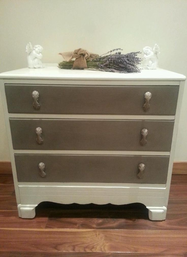 Handpainted solid oak lebus chest of drawers painted in French Linen and Old White and has been lightly distressed to give that shabby chic look. Treated with several coats of wax for protection. All original handles which are very pretty. For sale on Gumtree £100. Colourmefurniture