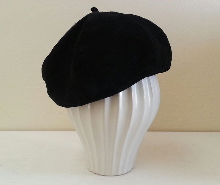 Emporio Armani Black Suede Beret with black and white printed linning by VINT2G on Etsy