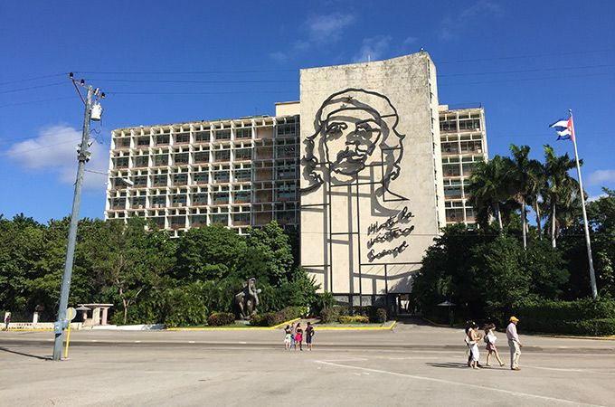 Che Guevara facade on the Ministry of the Interior building at the Plaza de la Revolución