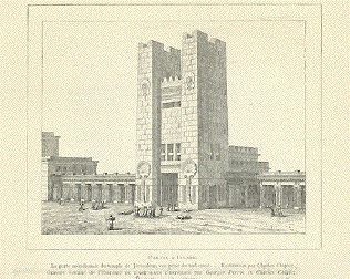 """""""L'Arvis D'Israel""""  Wood engraving showing a reconstruction of the Temple by Charles Chipiez, 1887."""