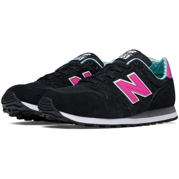 NB New Balance 373 Modern Classics, Black with Pink & Green