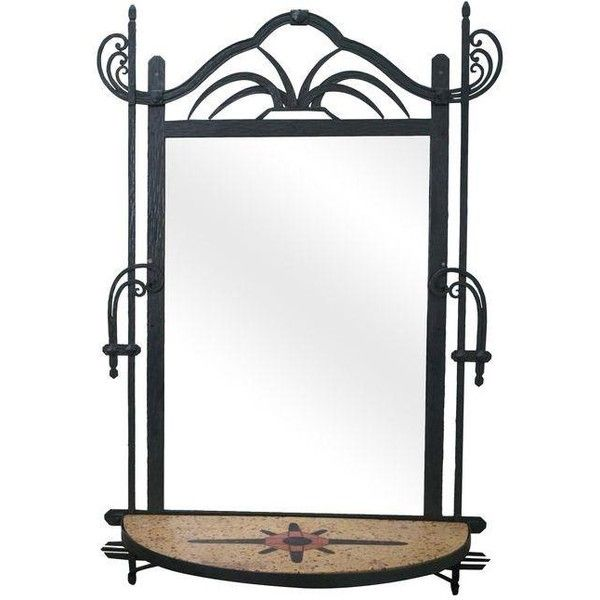 Hand Wrought Iron Southwest Hanging Mirror ($1,295) ❤ liked on Polyvore featuring home, home decor, mirrors, iron mirror, southwestern home decor, iron home decor, iron wall mirror and inlay mirror