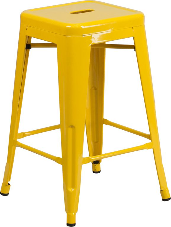 Stackable Industrial Style Modern Stool, Stacks 4 to 8 High, Backless Design, Drain Hole in Seat, Yellow Powder Coat Finish, Cross Brace under seat provides extra stability, Plastic Caps on cross brace protect finish when stacked, Footrest, Protective Rubber Floor Glides, Lightweight Design, Designed for Indoor and Outdoor Use, Designed for Commercial and Residential Use