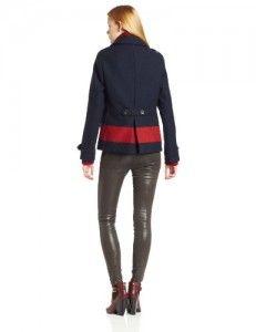 Wool jackets  Maison Scotch Women's Colorblock Stripe Peacoat, Blue/Red, Petite Big SALE