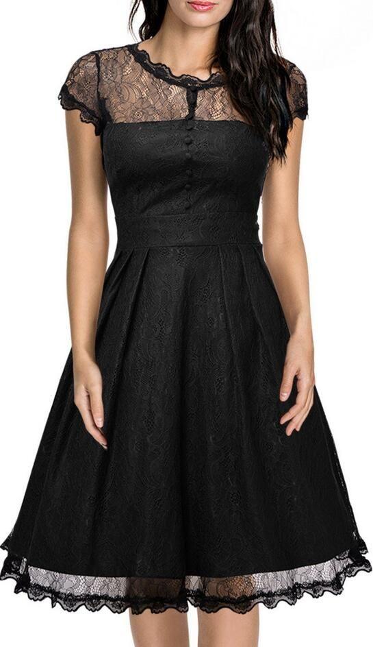 Elegant Lace Short Sleeve A-Line Knee-Length Dress