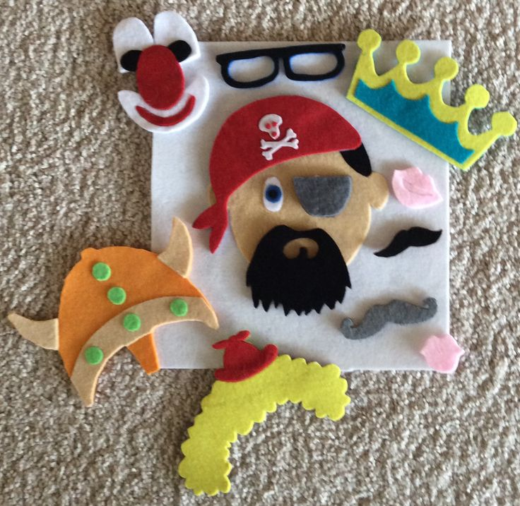 "Ideas para un ""quiet book"" con caras de diferentes personajes... Pirata, vikingo, payaso..."