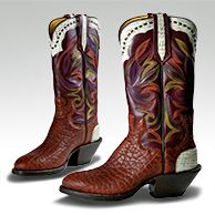 Paul Bond Boot Co.'s Boot of the Month September 2012 with rust color American Bison foot and multi colored stitching!