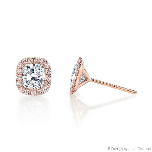 RIVIERA ROSE STUDS are custom, handcrafted earrings from Jean Dousset's luxury La Vie En Rose® Collection. Set with your choice of diamond cut - shown with matching Cushion Cut diamonds inside a seamless halo of rare, Fancy pink diamonds that are imported from the premiere Argyle Diamond Mine in Western Australia.