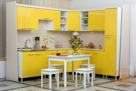 Заказать угловую кухню эконом класса Желтый глянец в Москве | Интернет-магазин «Msc Mebel»