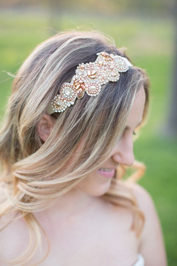 This beaded bridal headpiece is made up of beads, Swarovski Crystals and pearls. This couture-wedding headpiece is classic and timeless while still being fun and glamorous. ** Follow us on * INSTAGRAM | FACEBOOK * For more designs examples and sneak peaks @ [KNRHandmade]    • Made with