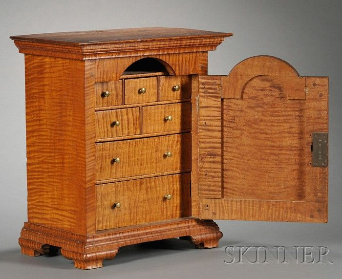 Carved Tiger Maple Spice Chest | Sale Number 2509, Lot Number 500 | Skinner  Auctioneers