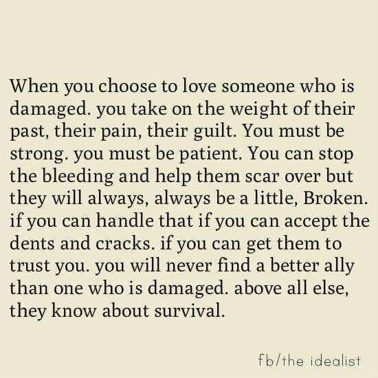 When you choose to love someone who is damaged, you take on the weight of their past, their pain, their guilt. You must be strong. You must be patients. You can stop the bleeding and help them scar over but they will always, always be a little broken. If you can handle that....if you can accept the dents and cracks. ...if you can get them to trust you, you will never find a better ally than one who is damaged, above all else, they know survival.