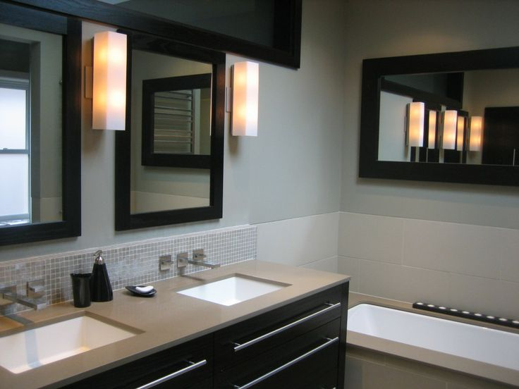 Beautiful Bathroom Renovations Pictures With Modern Espresso Cabinet And  Undermount Sink And Brown Tops And Beveled