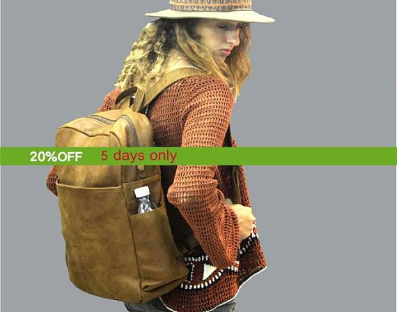 SALE Brown Leather backpack laptop backpack 15 inch laptop