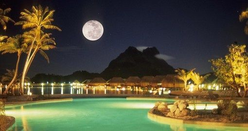 Night by the pool, Bora Bora | Christmas Escapes