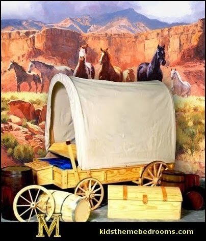 Covered Wagon Twin Bed-theme bed western theme cowboy theme bedroom furniture theme ideas