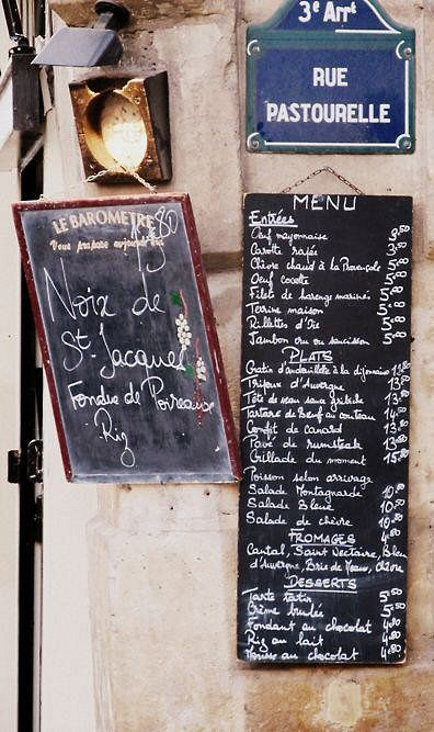 Le menu de la rue Pastourelle  (Paris 3ème)