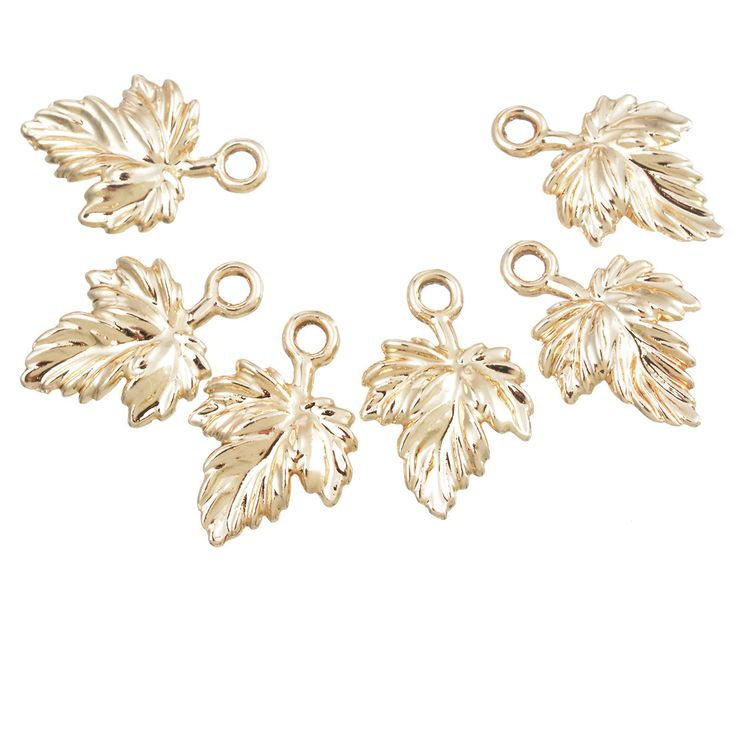 MJARTORIA Charms Pendants 20PCs Gold Plated Maple Leaf Pendants Accessories For Jewelry Making Supplies DIY Craft 17x11mm