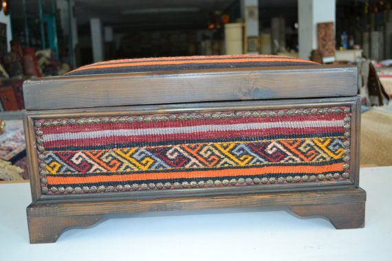 Wood Chest Kilim covered - unique old chest footrest- wood ...