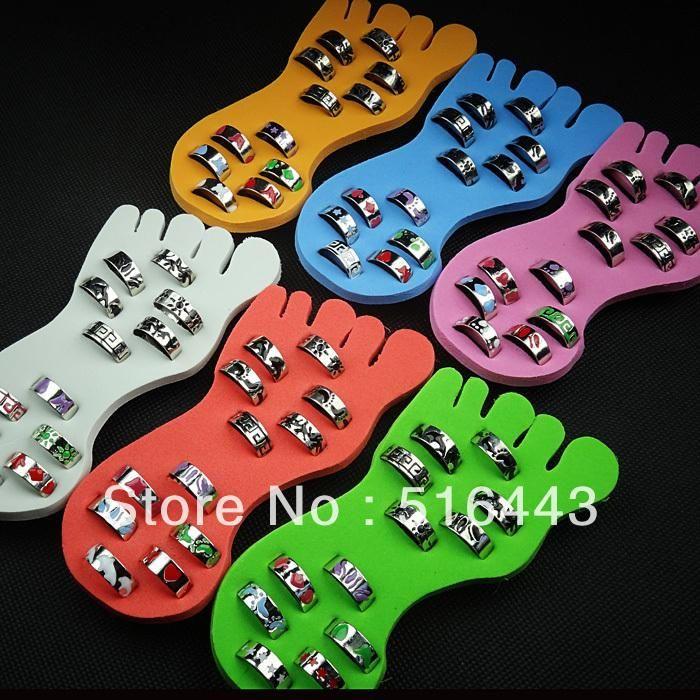 A-345 48pcs Wholesale Body Jewelry Fashion Mix Pattern Glaze Mens Women Toe Rings Free Shipping