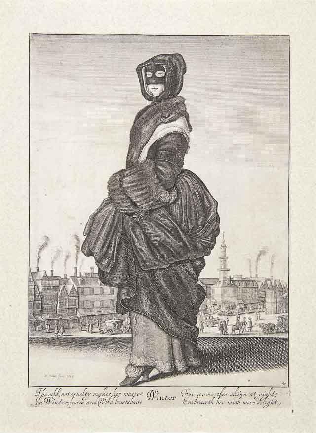 """Václav Hollar , Zima """"Theatrum mulierum"""" (teatr kobiet) to seria grafik Václava Hollara (1607-1667), jednego z najzdolniejszych grafików XVII-wiecznej Europy ukazująca stroje mieszkanek różnych regionów Europy. Prace, które były pokazywane na wystawie w Galerii Sztuki Polskiej XIX wieku w Sukiennicach w ramach projektu Kobieta Wiedza Władza, uzupełnione były przedstawieniami czterech pór roku, które artysta ukazał pod postaciami kobiet w sukniach z epoki.  Hollar jest mistrzem graficznego…"""