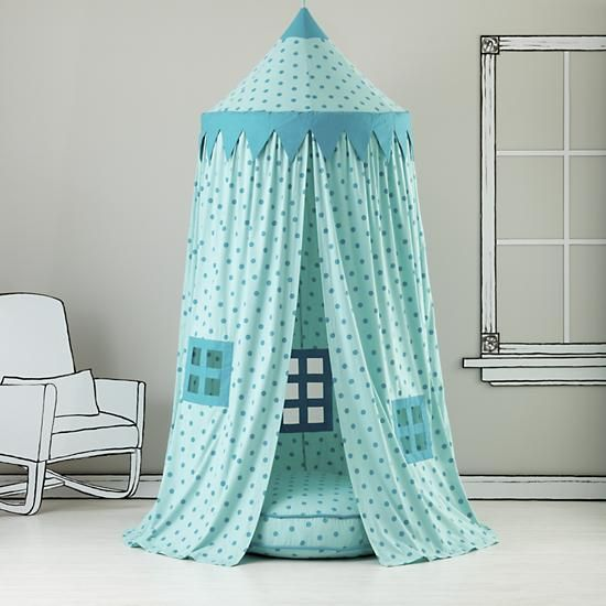 The Land of Nod | Kids Canopy: Teal Polka Dot Play Circus Tent in Playhomes and Tents