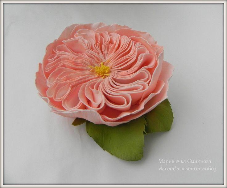 Маришечка Смирнова . Rosa David Austin .  Eva foam Flowers . Flowers with their hands .Ревелюр ,фоамиран .Украшение для волос с цветами .