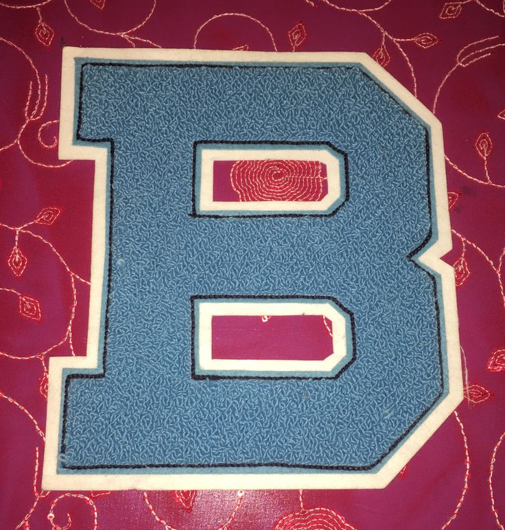 Vintage Chenille and Felt Letterman Patch Letter B - Blue & White by MellieDBoutique on Etsy