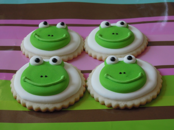 Frog cookies for a one-year-old's birthday party
