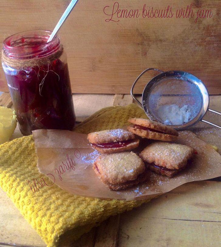 Μπισκότα λεμονιού με μαρμελάδα