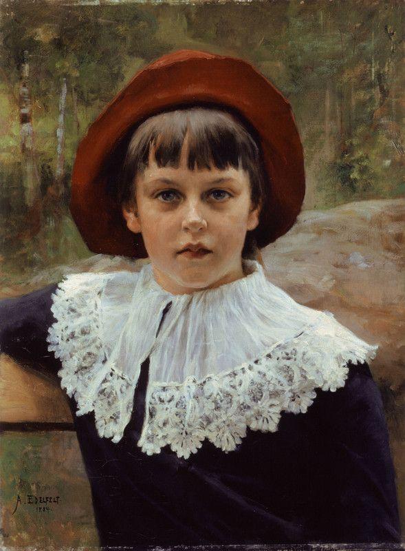ALBERT EDELFELT Portrait of the Artist's Sister Berta Edelfelt