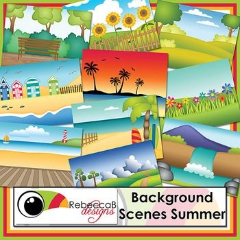 Background Scenes Summer contains 10 colored and 10 black and white background scenes for your products. Simply place your text and clip art over the background scene. Create product covers, posters, dioramas, worksheets, activities and other teaching resources.