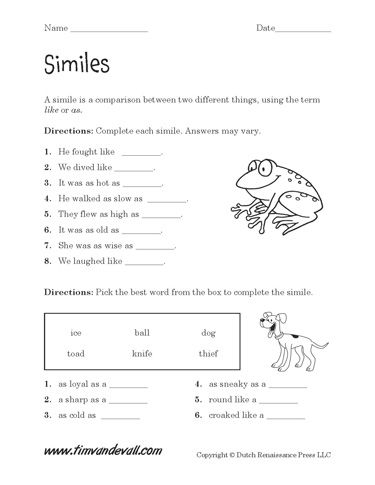 Simile Worksheet, this gentleman has many educational tools for children!
