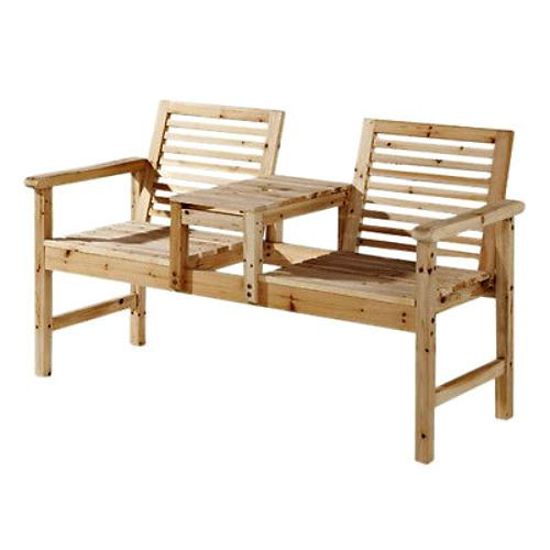 Wooden Love Seat Garden Bench Companion Patio Furniture Outdoor Chair With Table #Mountrose