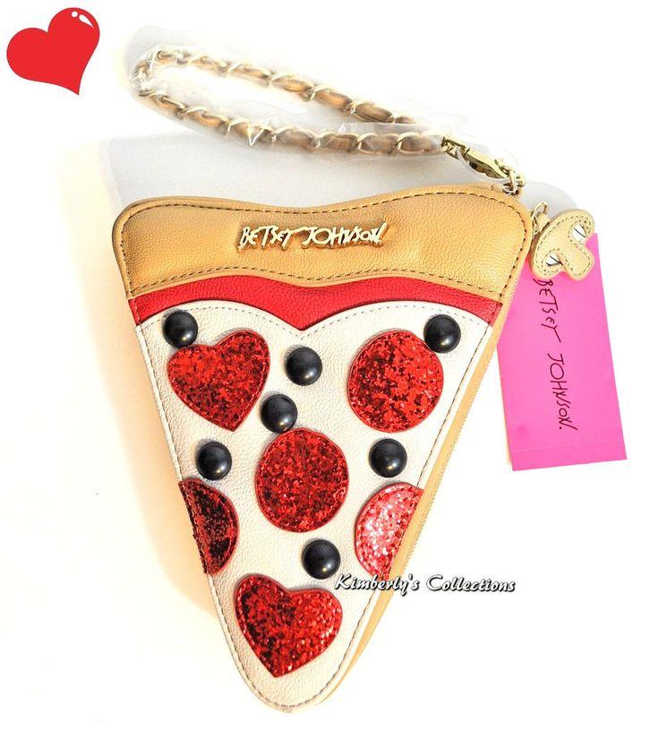Betsey Johnson Rare Pizza Slice Wristlet Bag Clutch Purse  #BetseyJohnson #wristlet #handbags #purses #pizza #designerbags