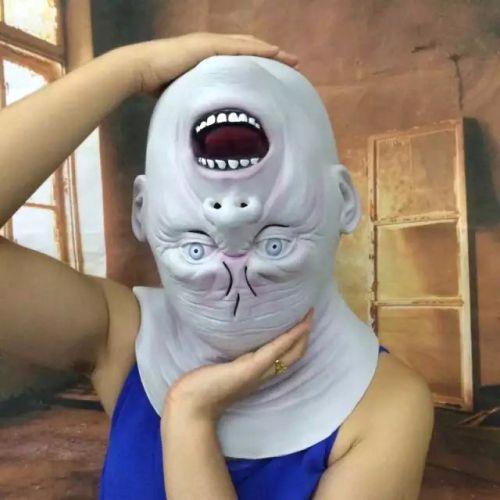[$11.24] Popular Funny Halloween Mask Emulsion Inverted Head Devil Mask for Men and Women