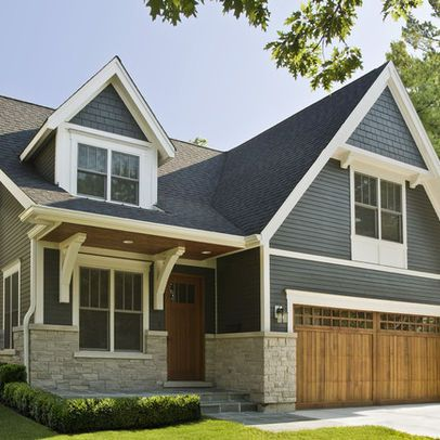 grey houses with white trim | Chicago Home Gray Siding Design Ideas, Pictures, Remodel, and Decor