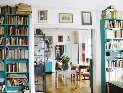 aasdf: Bookshelves, Turquoise, Blue Wall, Books Shelves, Colors, Tiffany Blue, White Rooms, Bookca, White Wall