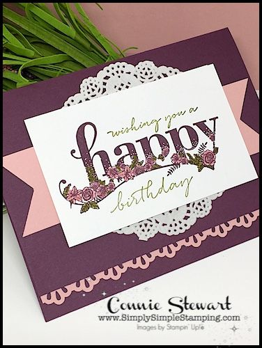 I promised you more Flash Cards in 2018 and today's card is a great way to start the new year!  I created today's card with the Happy Wishes Sale-a-Bration stamp set, my favorite Sale-a-Bration stamp set. This 16-piece stamp set is a stamper's dream set!  I love the 2 large words with those sweet flowers.  To complete the sentiment, pick your favorite addition.  I love stamping sentiments in different colors too.