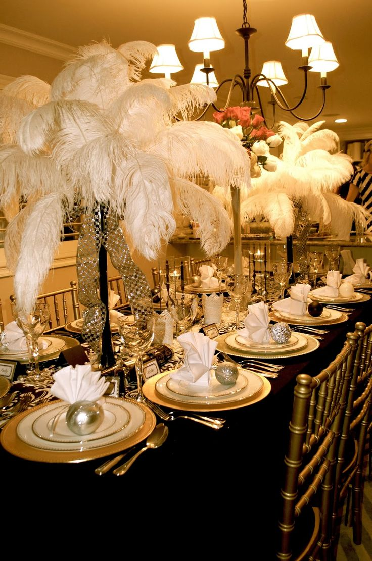 Rent ostrich feather centerpieces wedding amp party centerpiece rentals - Great Gatsby Party Decorations The Feathers Obviously Look Great But I M Pinning Because Of The Way The Napkins Are Folded And Tied To An Ornament
